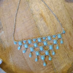 Jewelry - Silver and turquoise faux beaded dangling necklace